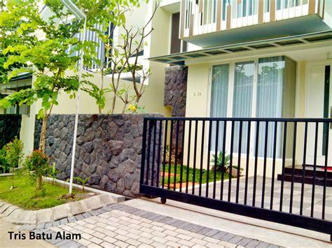 batu alam kewal dinding depan rumah pagar taman