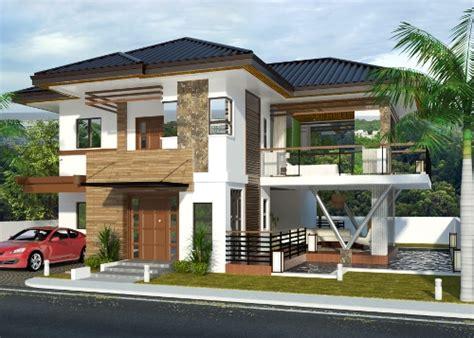 tampak depan rumah minimalis lantai bertema tropis