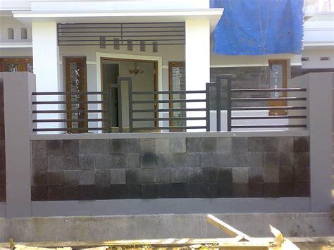 desain pagar besi minimalis batu alam terbaru