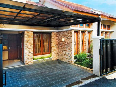 desain teras rumah batu alam menarik