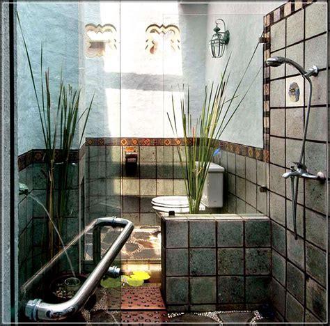 desain kamar mandi minimalis nuansa alam batu